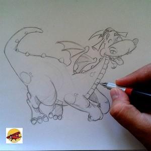 dragon qui pète en noir et blanc petit louis