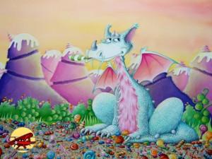 illustration dragon gourmand;couverture livre;p'tit louis;edition